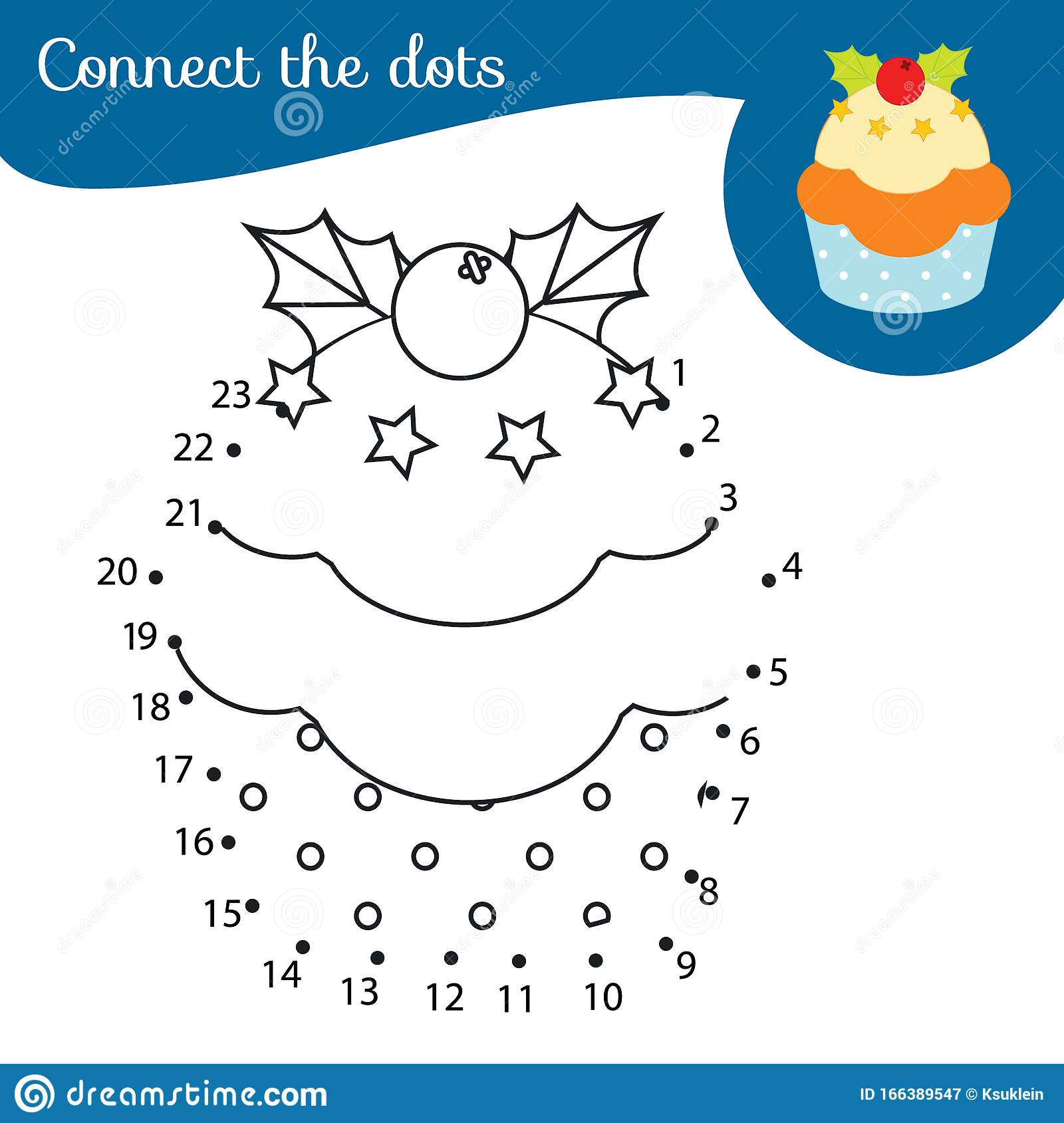 Christmas Cupcake Connect The Dots Dot To Dot By Numbers
