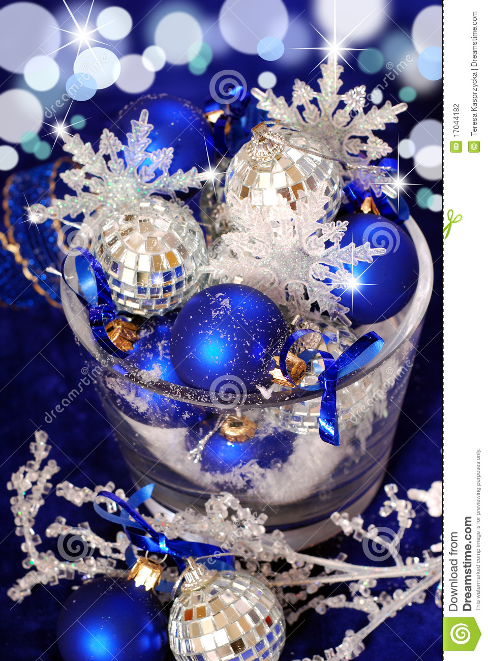 Christmas Decoration In Deep Blue Colors Stock Photography