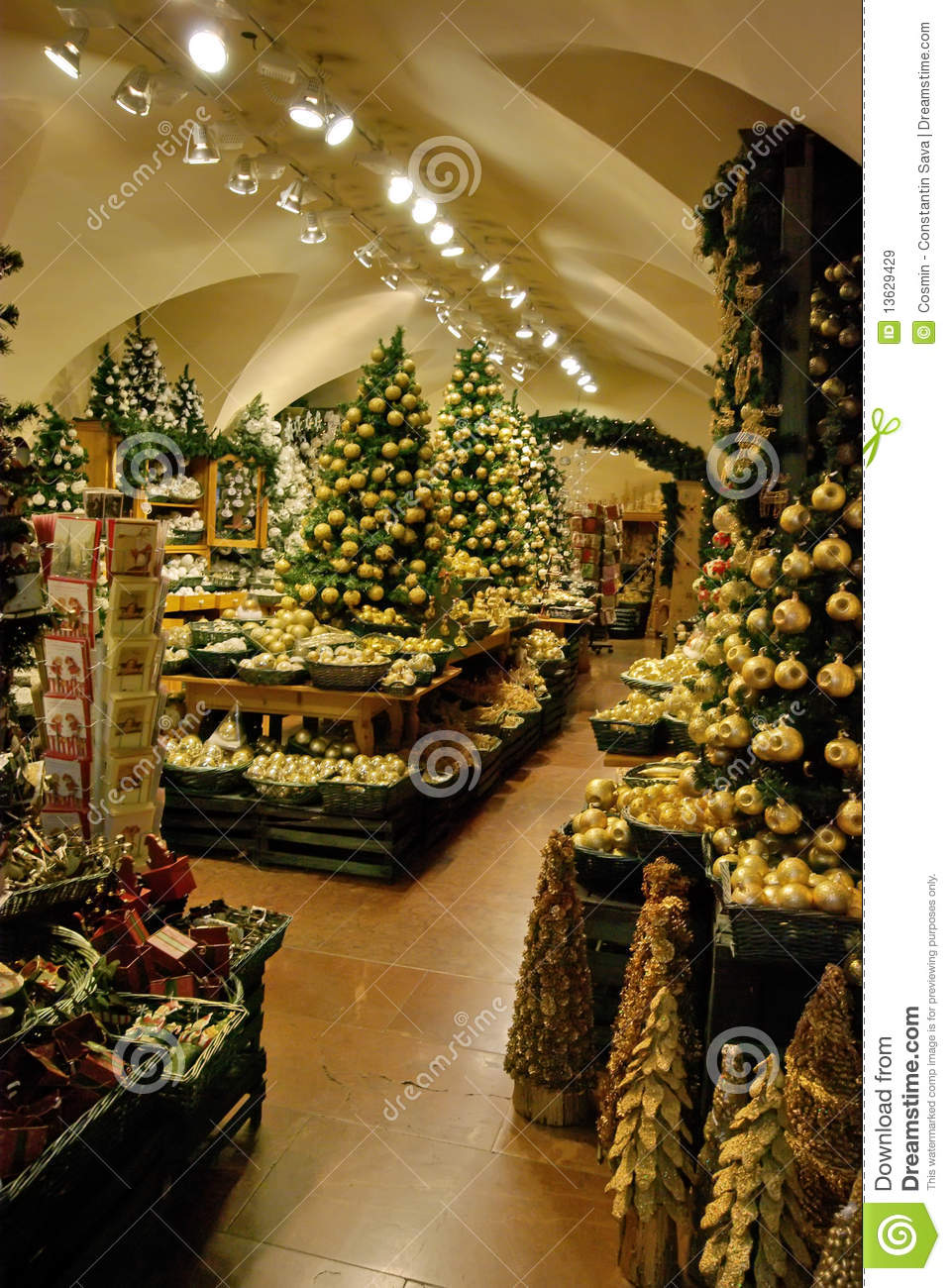 Christmas Decoration Shop Royalty Free Stock Images