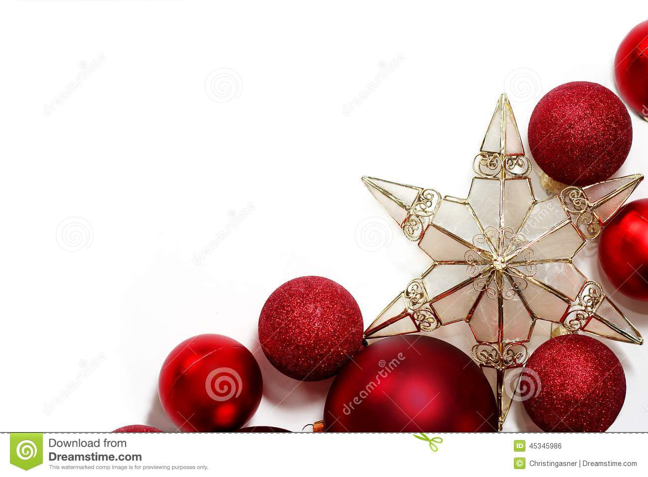 Christmas Decorations Border For Greeting Card Stock Photo