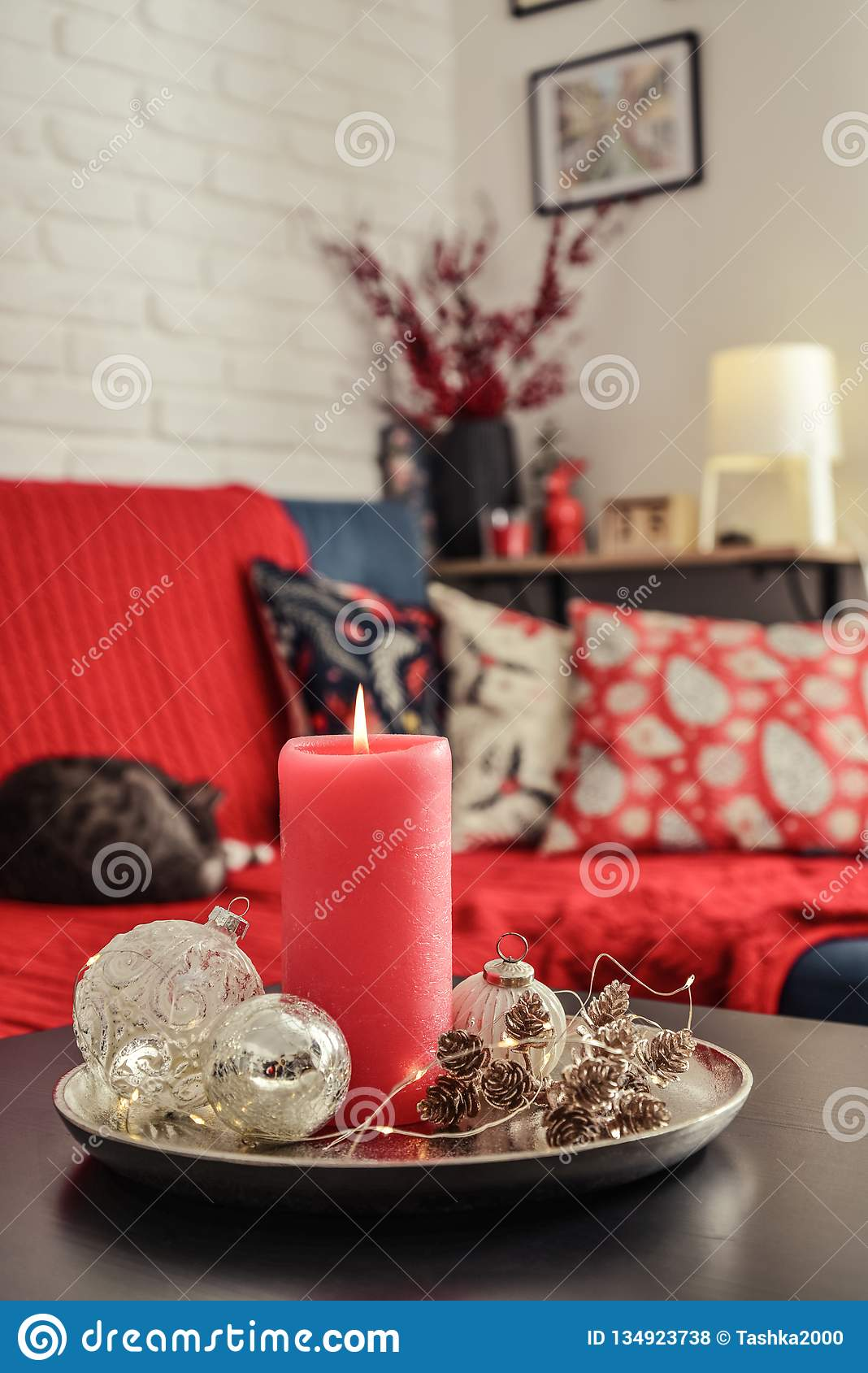 https www dreamstime com christmas decorations candle coffee table living room near couch closeup image134923738