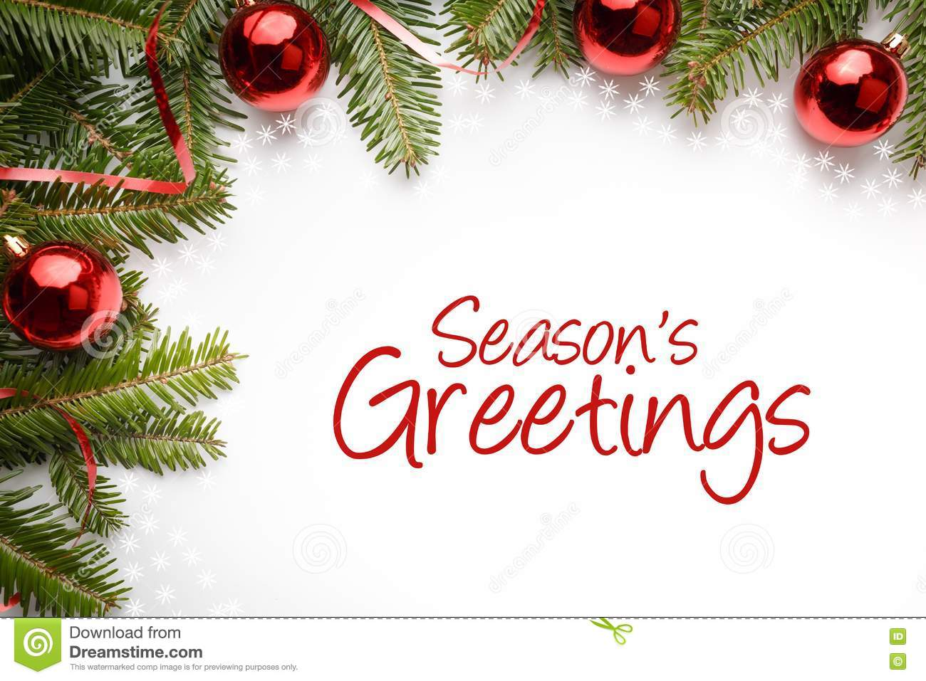 Christmas Decorations With The Greeting `Season`s