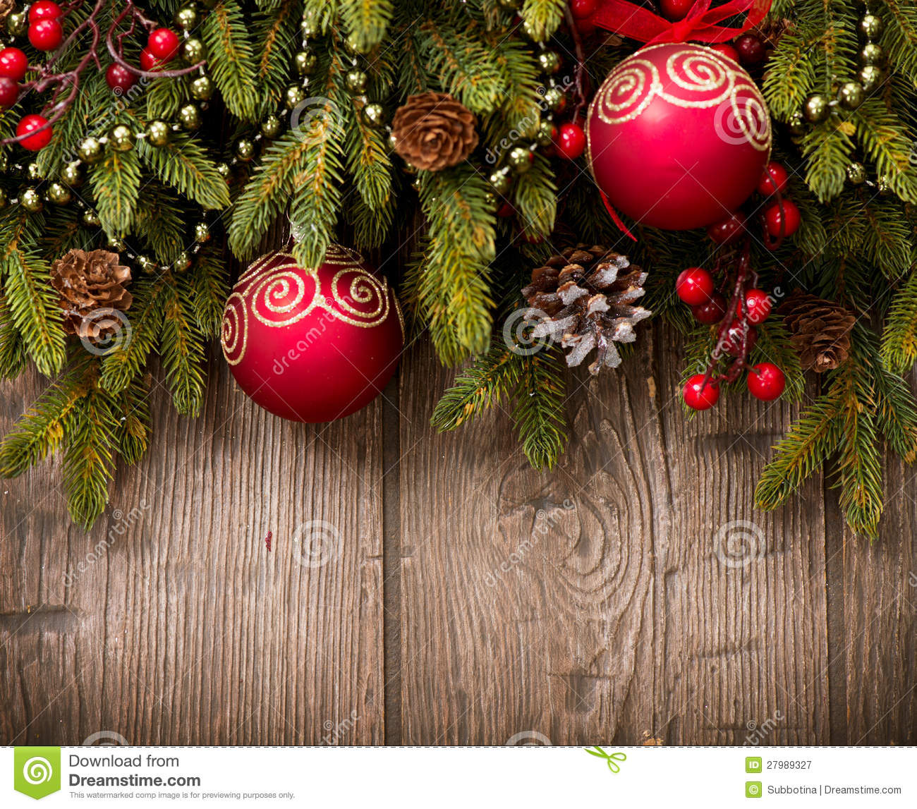 Christmas Decorations Over Wood Stock Image Image Of