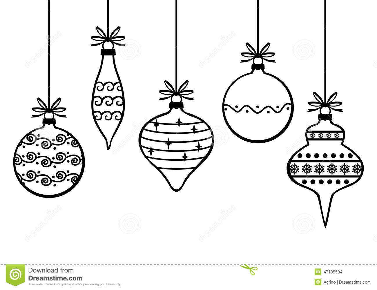 Christmas Decorative Baubles Stock Vector