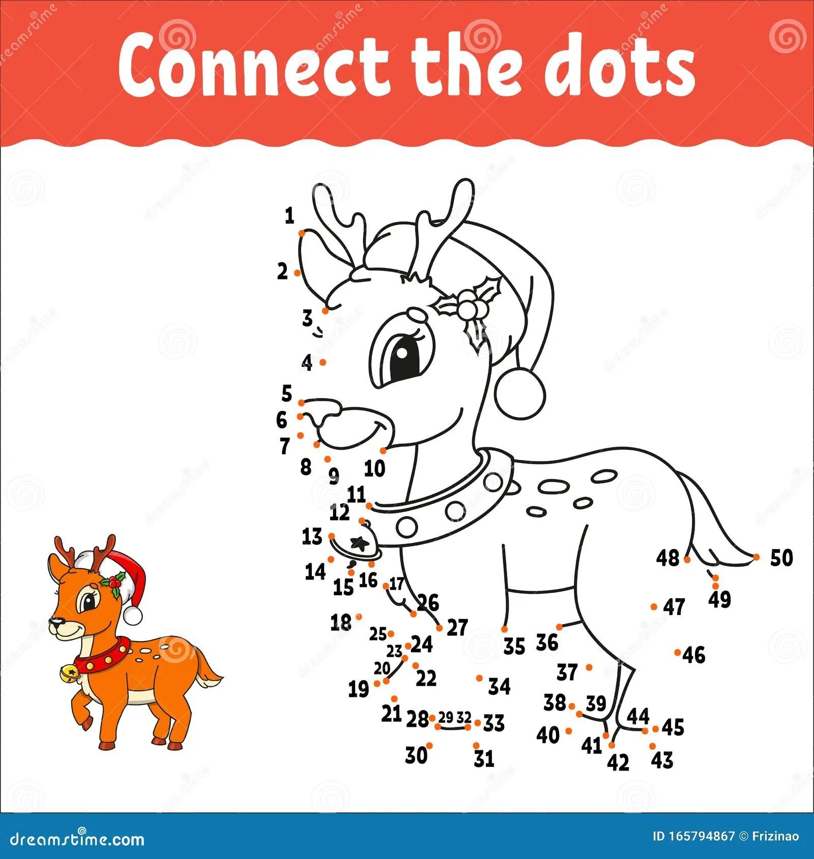 Christmas Deer Dot To Dot Game Draw A Line Handwriting