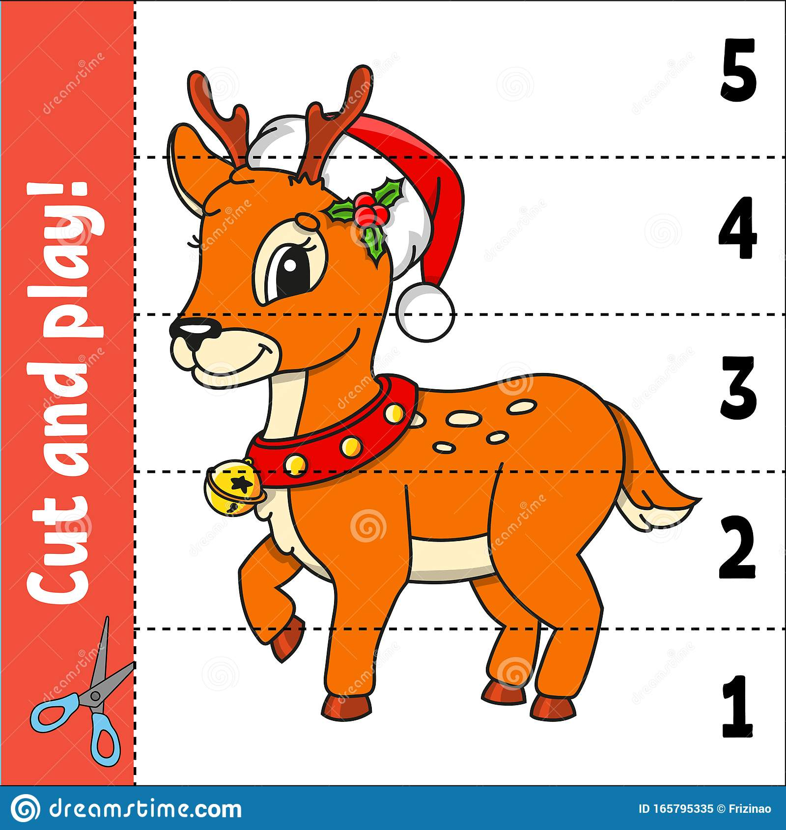 Christmas Deer Learning Numbers 1 5 Cut And Play