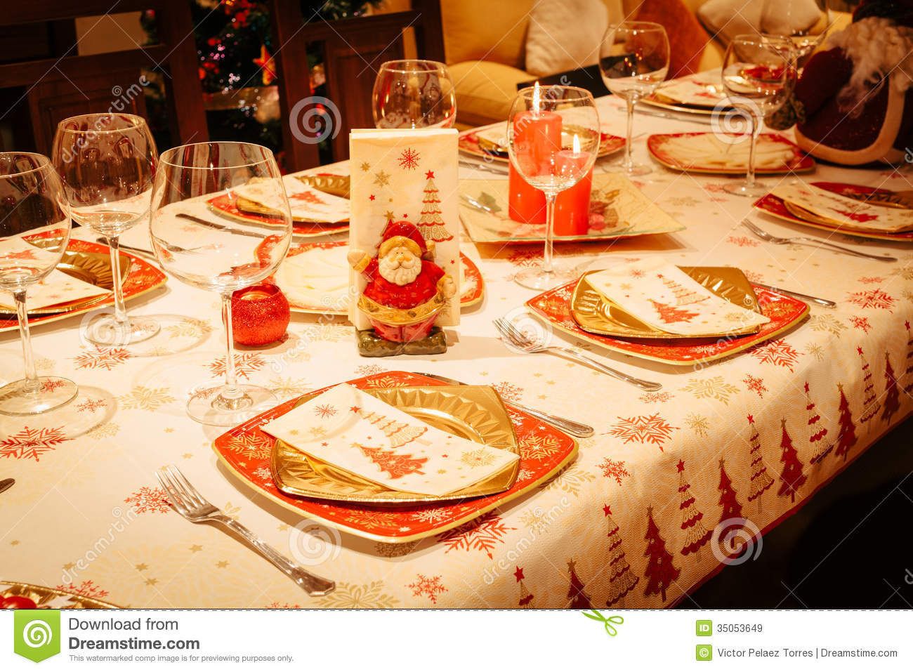 Christmas Dining Table With Christmas Tree In Background
