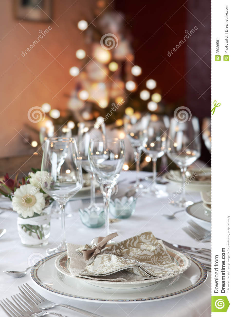 Christmas Dinner Table In White Stock Image Image 35036581