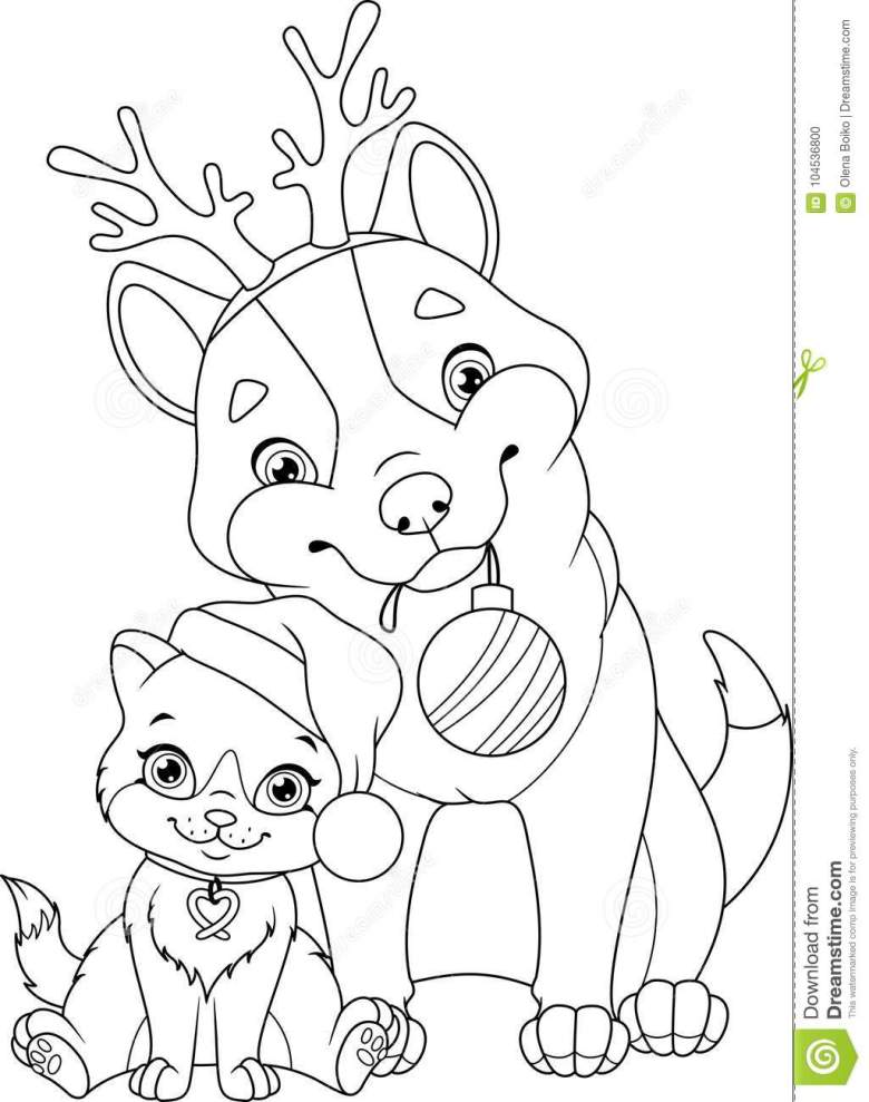 christmas dog with cat coloring page stock vector - illustration of
