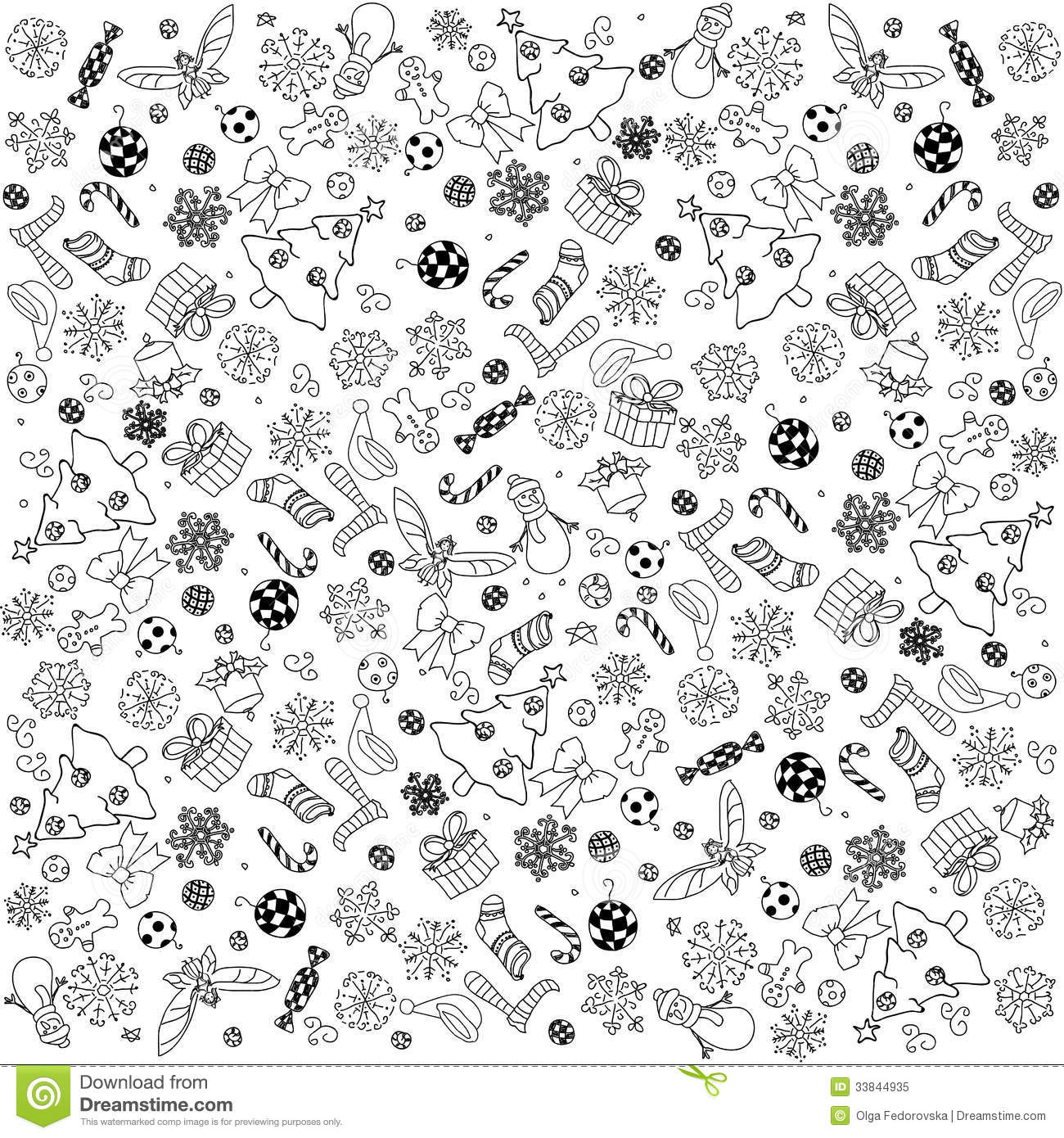 Christmas Doodles Background Stock Vector