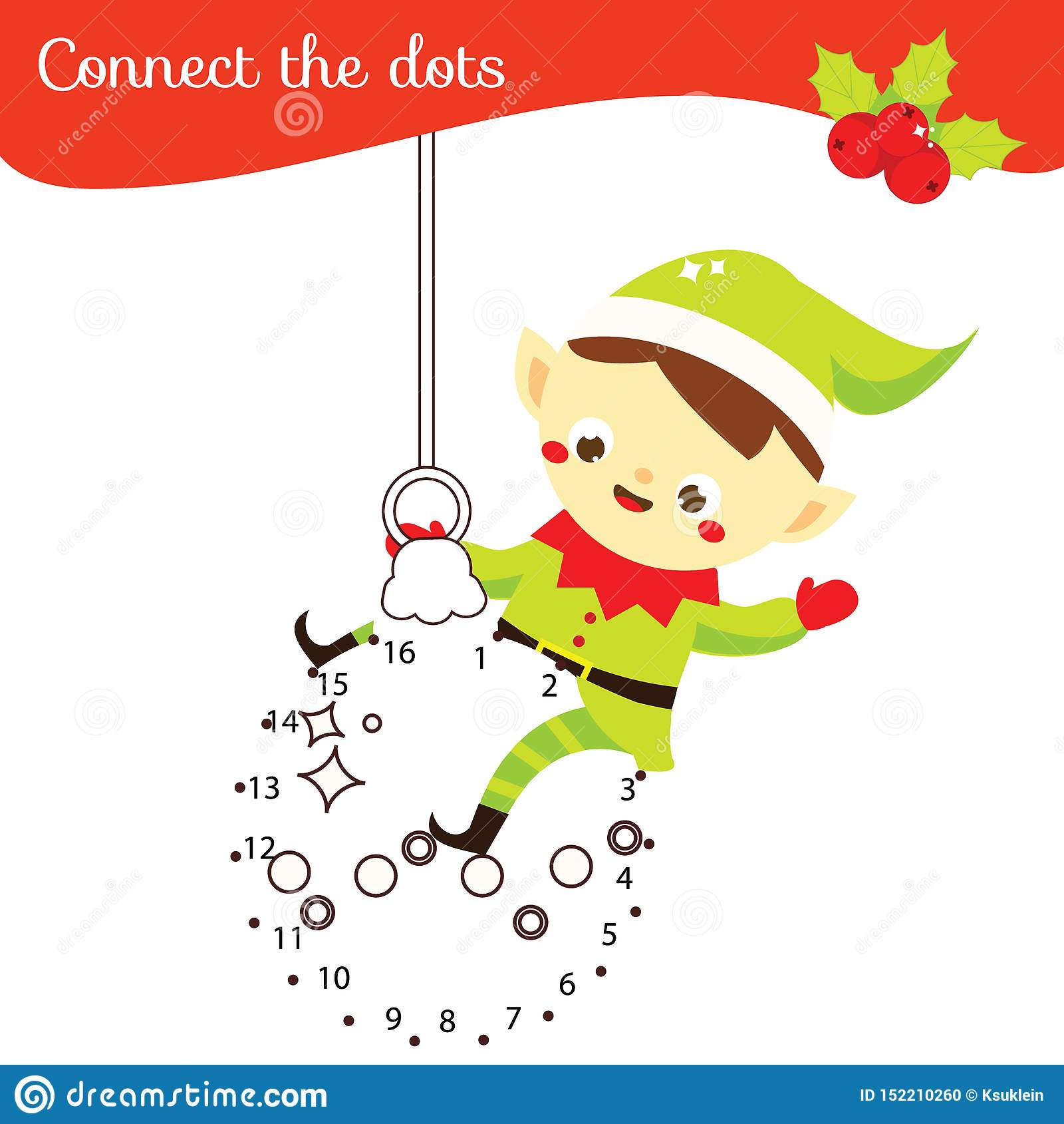 Christmas Elf Connect The Dots Dot To Dot By Numbers