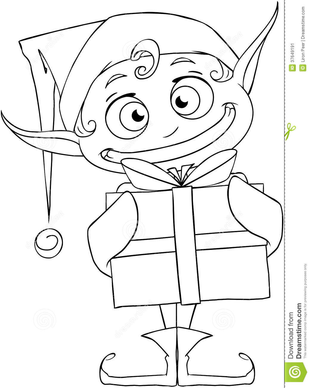 Christmas Elf Holding A Present Coloring Page Stock Image