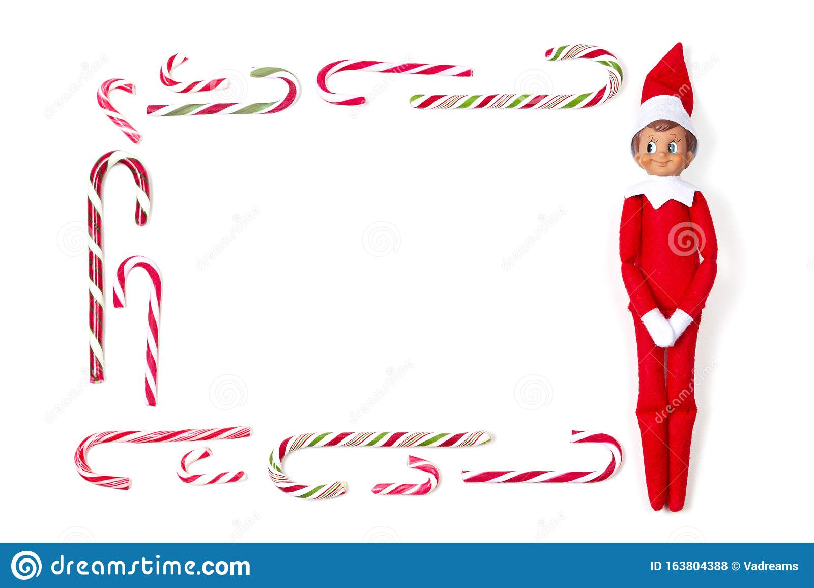 Christmas Frame Background Many Candy Canes And Little
