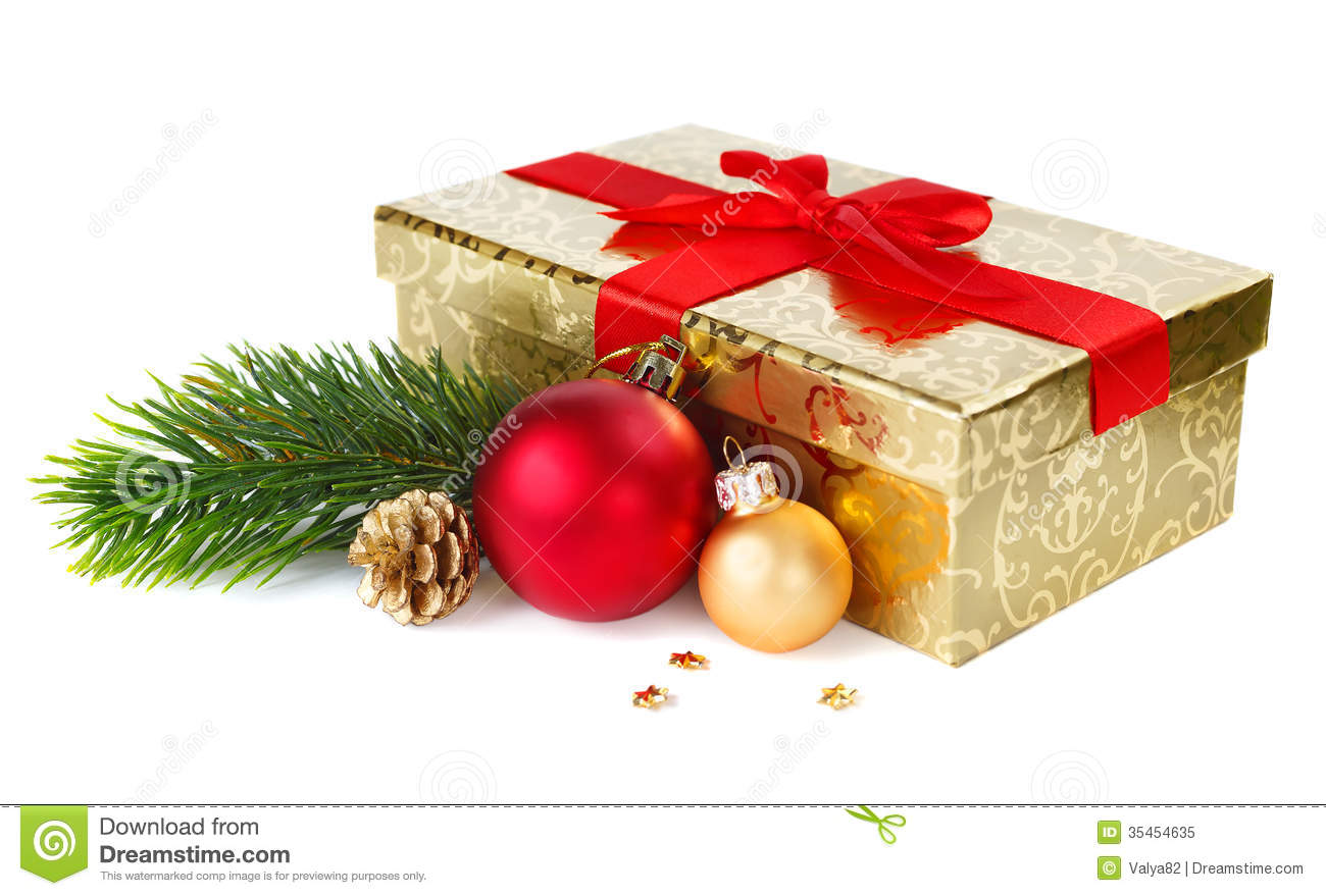 Christmas Gift Box And Decorations Stock Image Image
