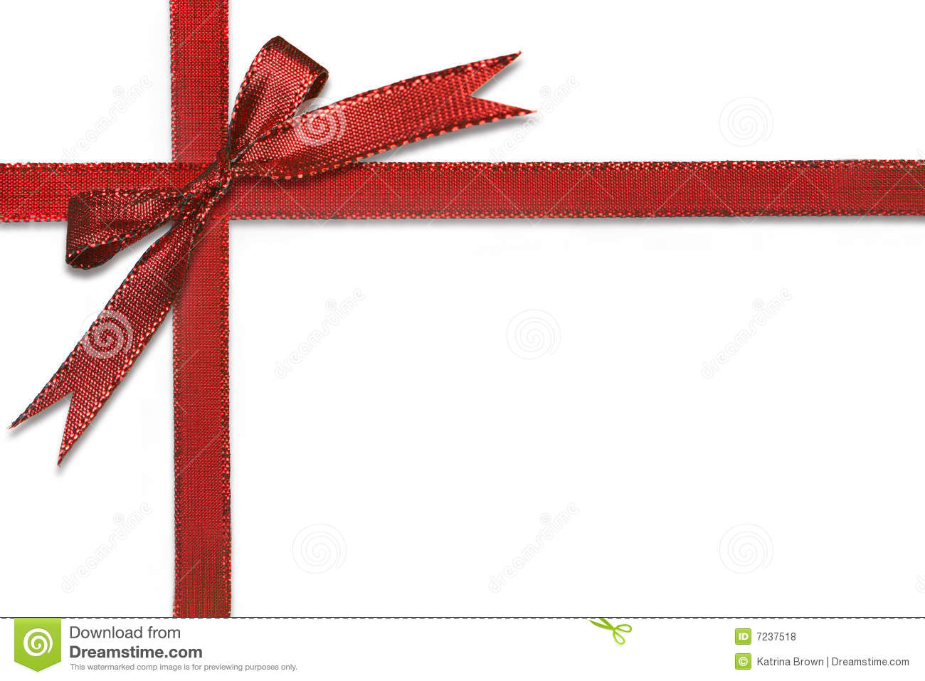 Christmas Gift Wrapped In Pretty Red Bow Stock Photo