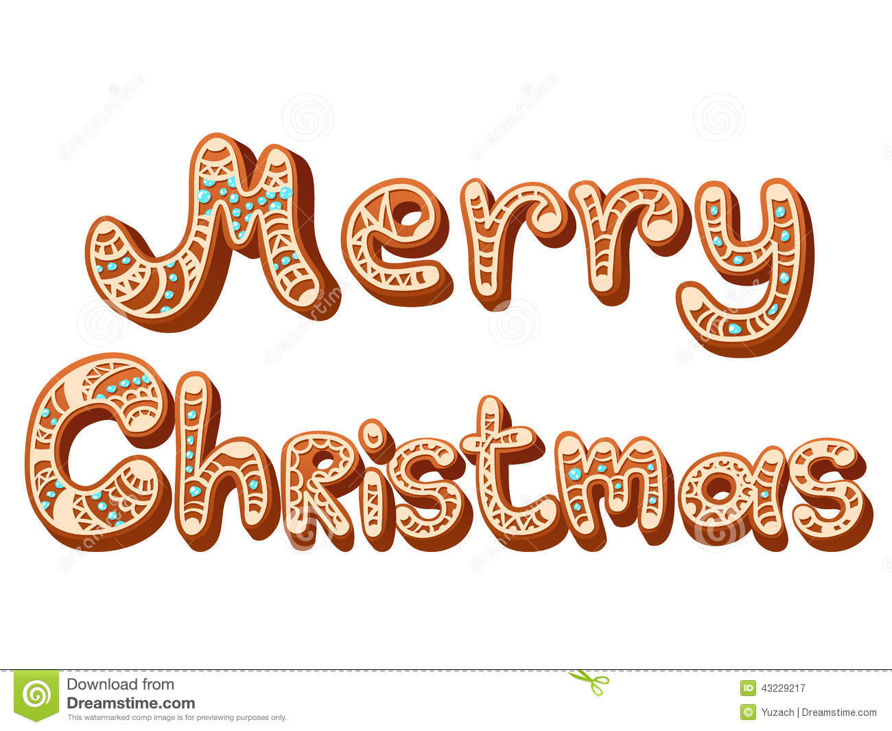 Christmas Gingerbread Text Letters Sign Isolated Stock