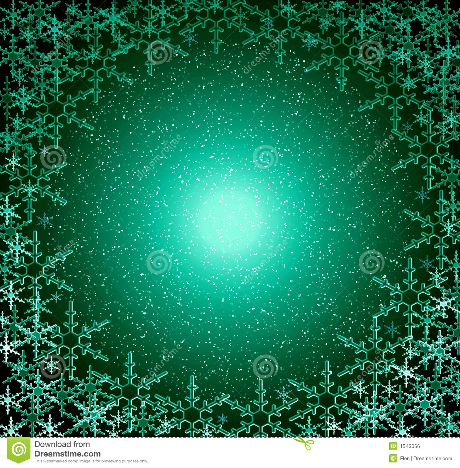 Christmas Green Snow Frame Stock Illustration