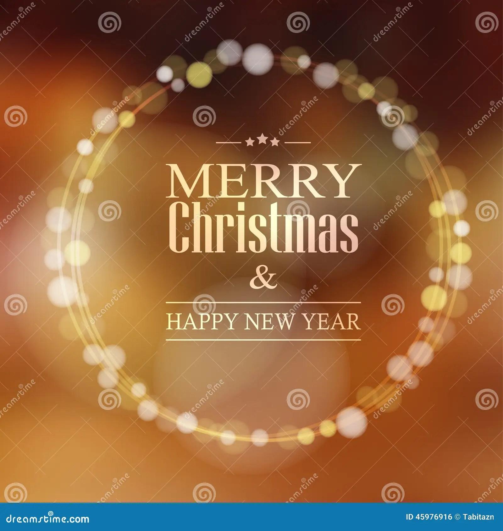 Christmas Greeting Card With Bokeh Lights Wreath Stock