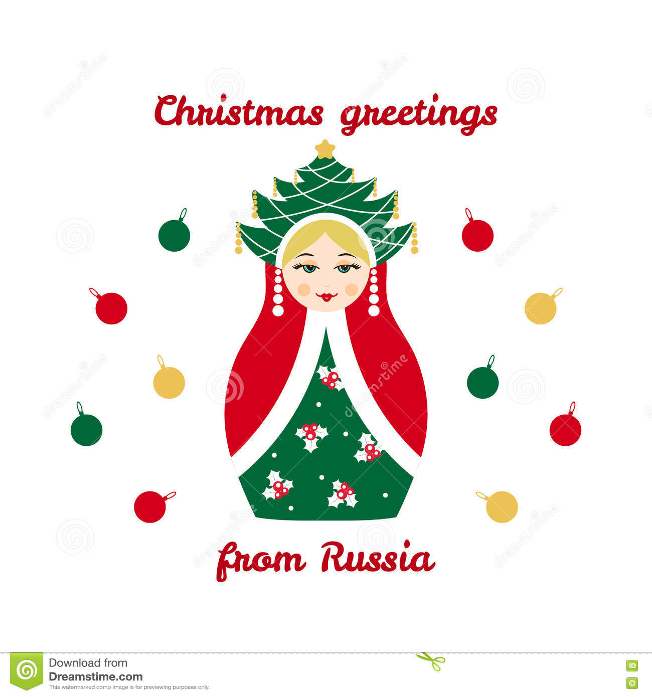 Christmas Greetings From Russia Card With Russian