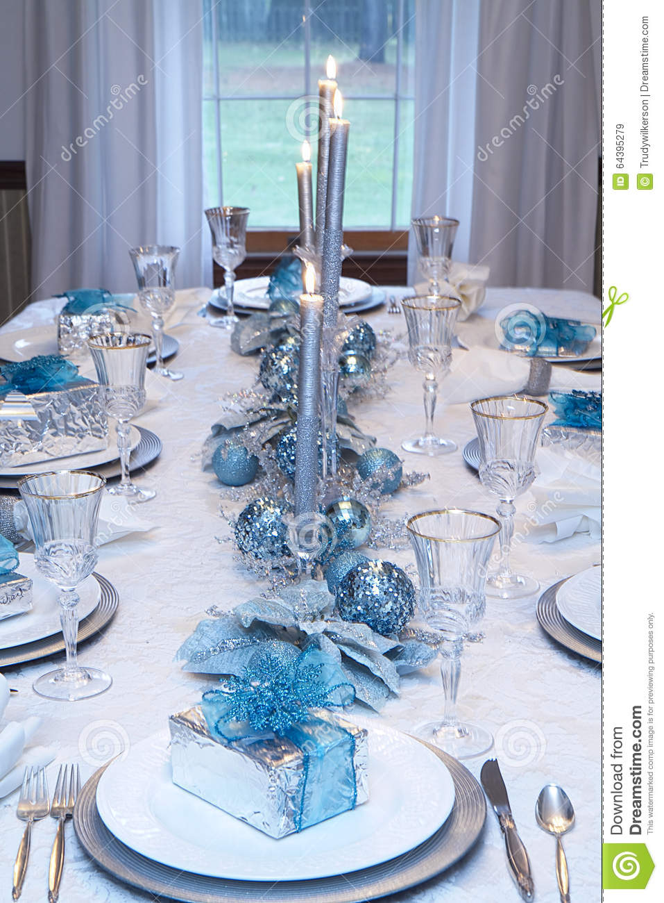 blue silver white christmas table decorations | psoriasisguru