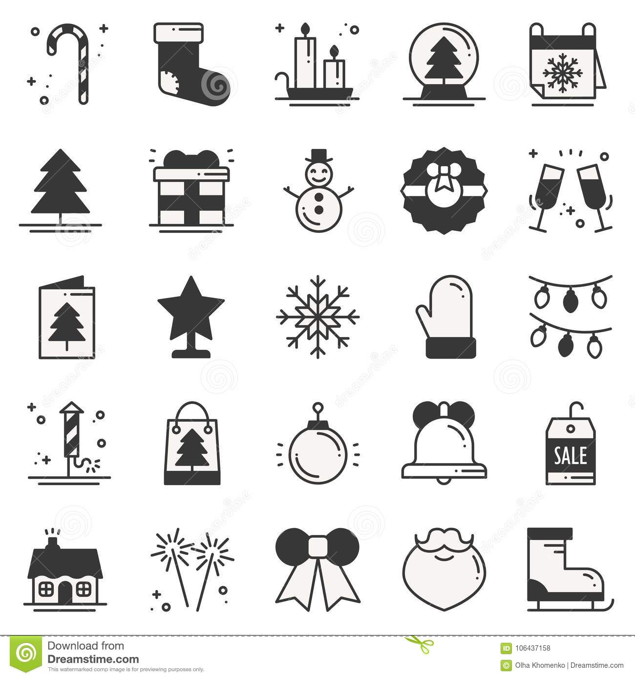 Christmas Holiday Thin Line Silhouette Icons Set New Year Celebration Outline Collection Basic