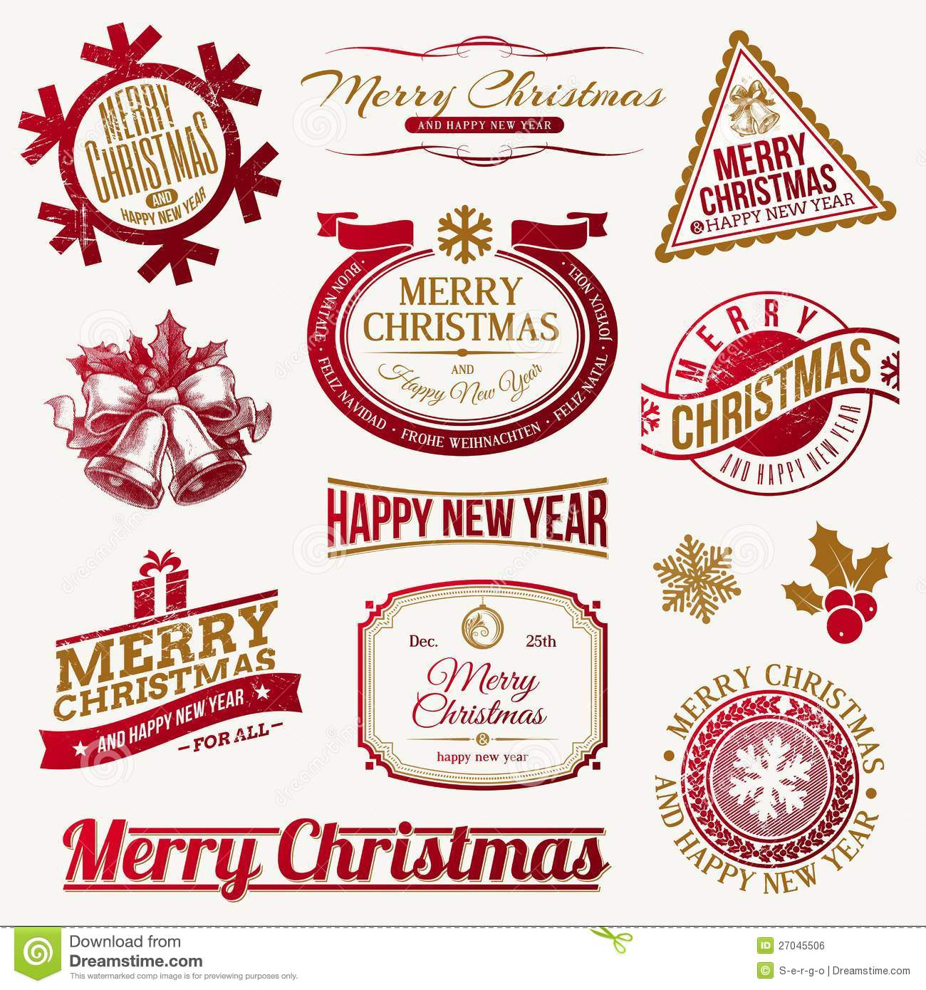 Christmas Holidays Emblems And Labels Vector Illustration
