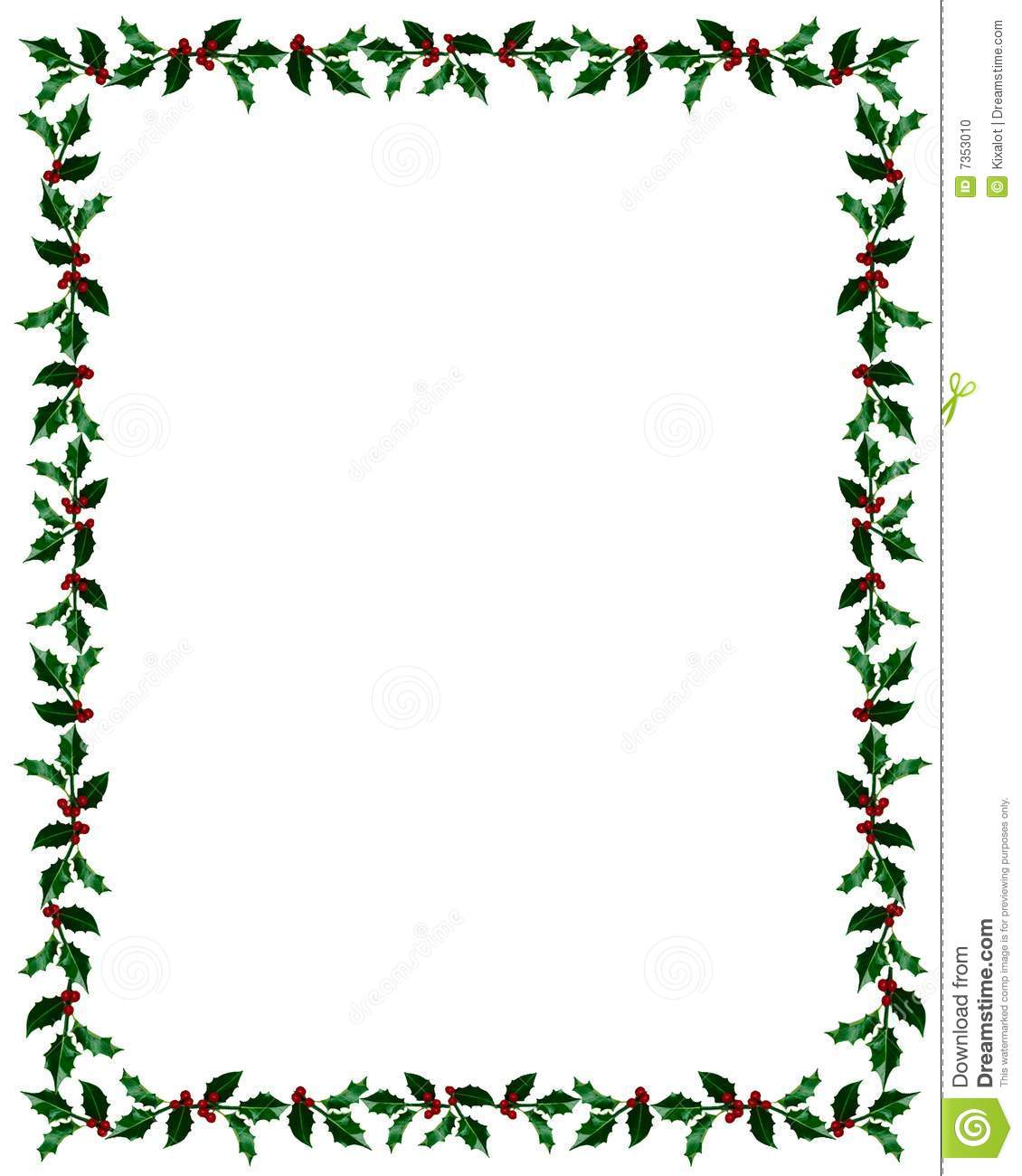 Christmas Holly Frame With Clip Path Stock Photo Image