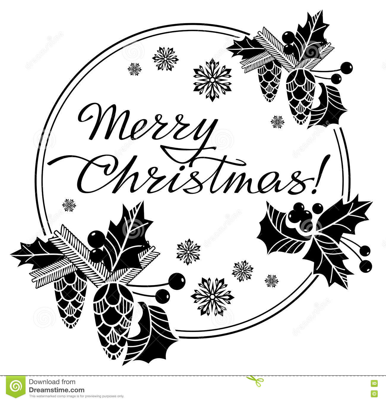 Christmas Label With Written Greeting Merry Christmas