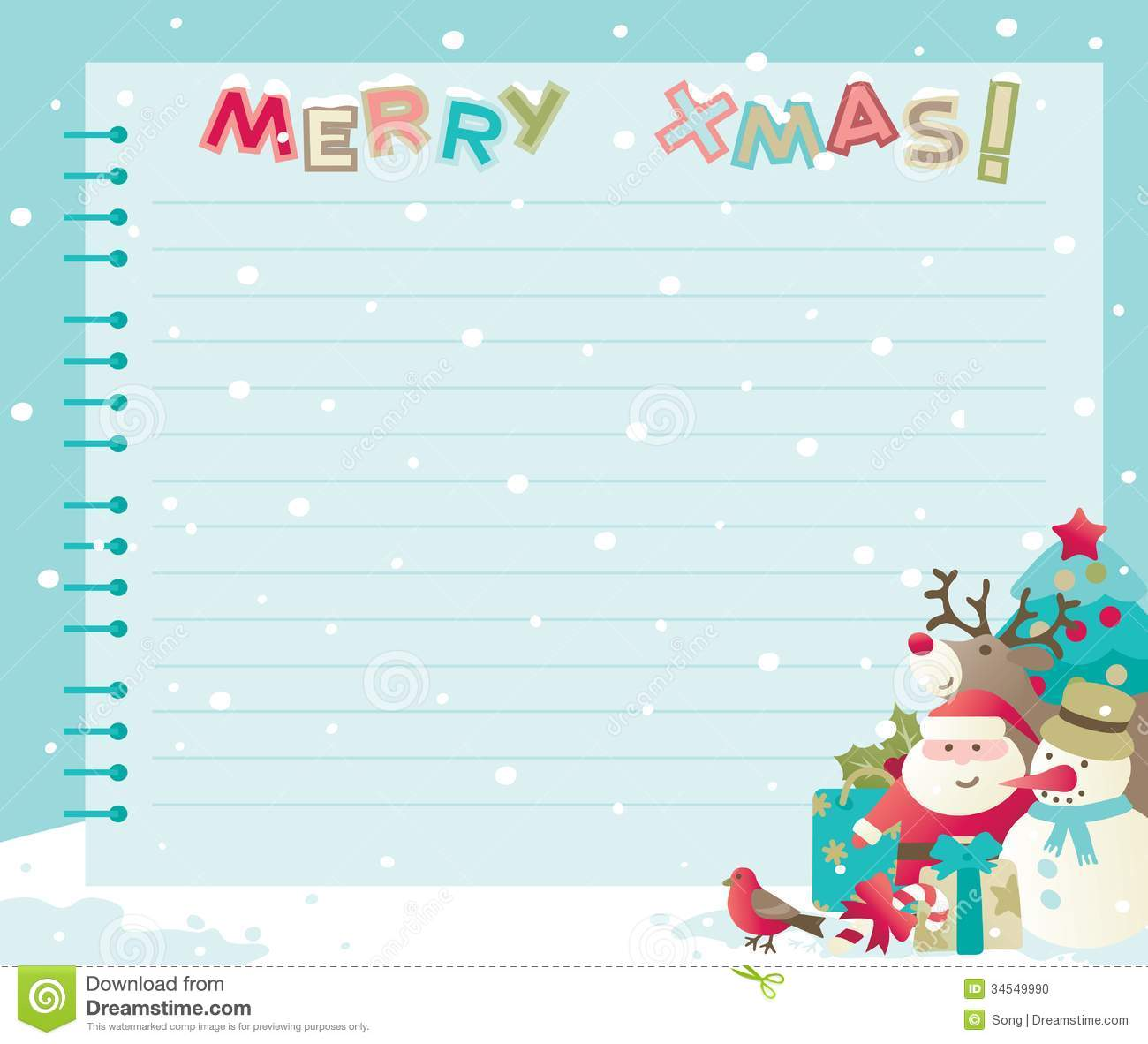 Christmas Letter With Copy Space Stock Vector Image