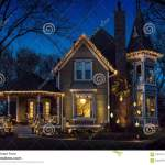 Exterior Of Victorian Home Decorated For Christmas Stock