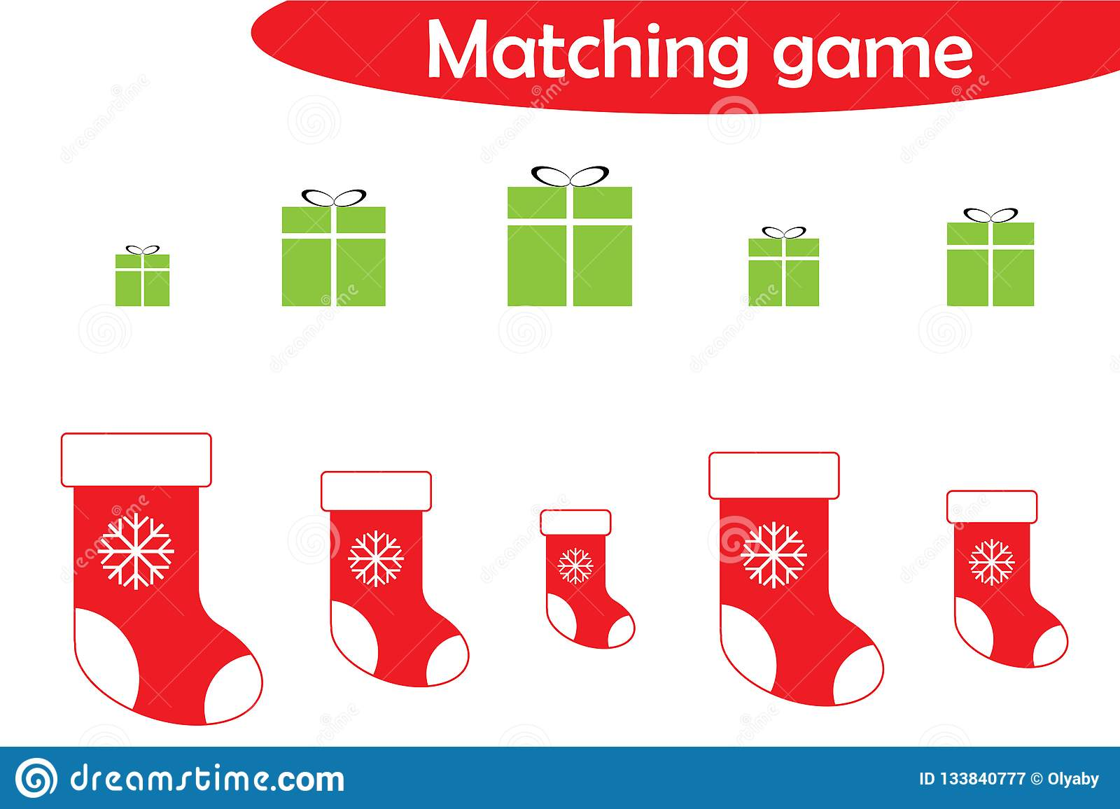 Christmas Matching Game For Children Connect T Boxes