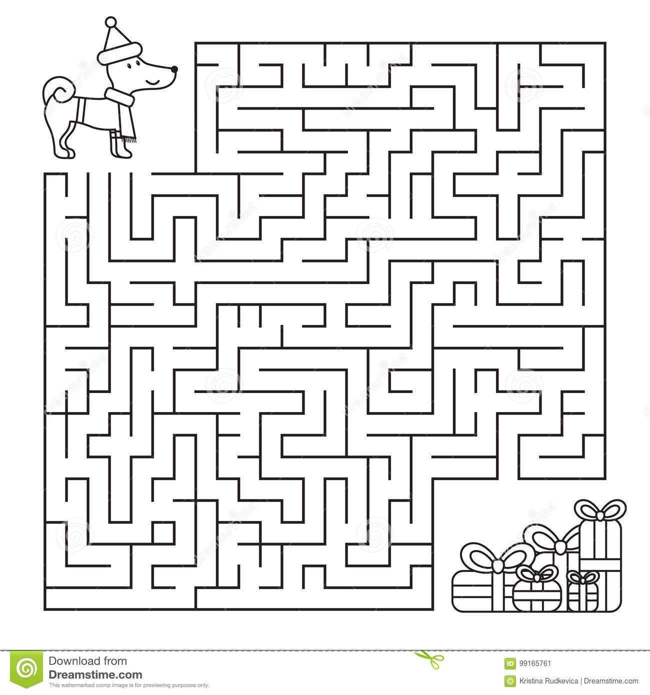 Christmas Maze For Children Funny Dog Looking For Ts