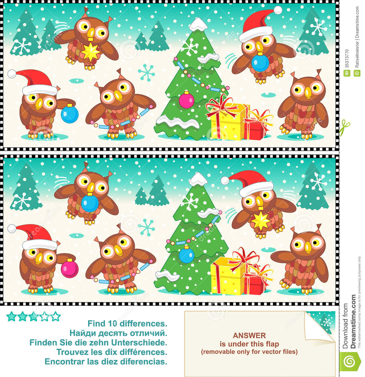 Christmas Owls Find The Differences Picture Puzzle Stock