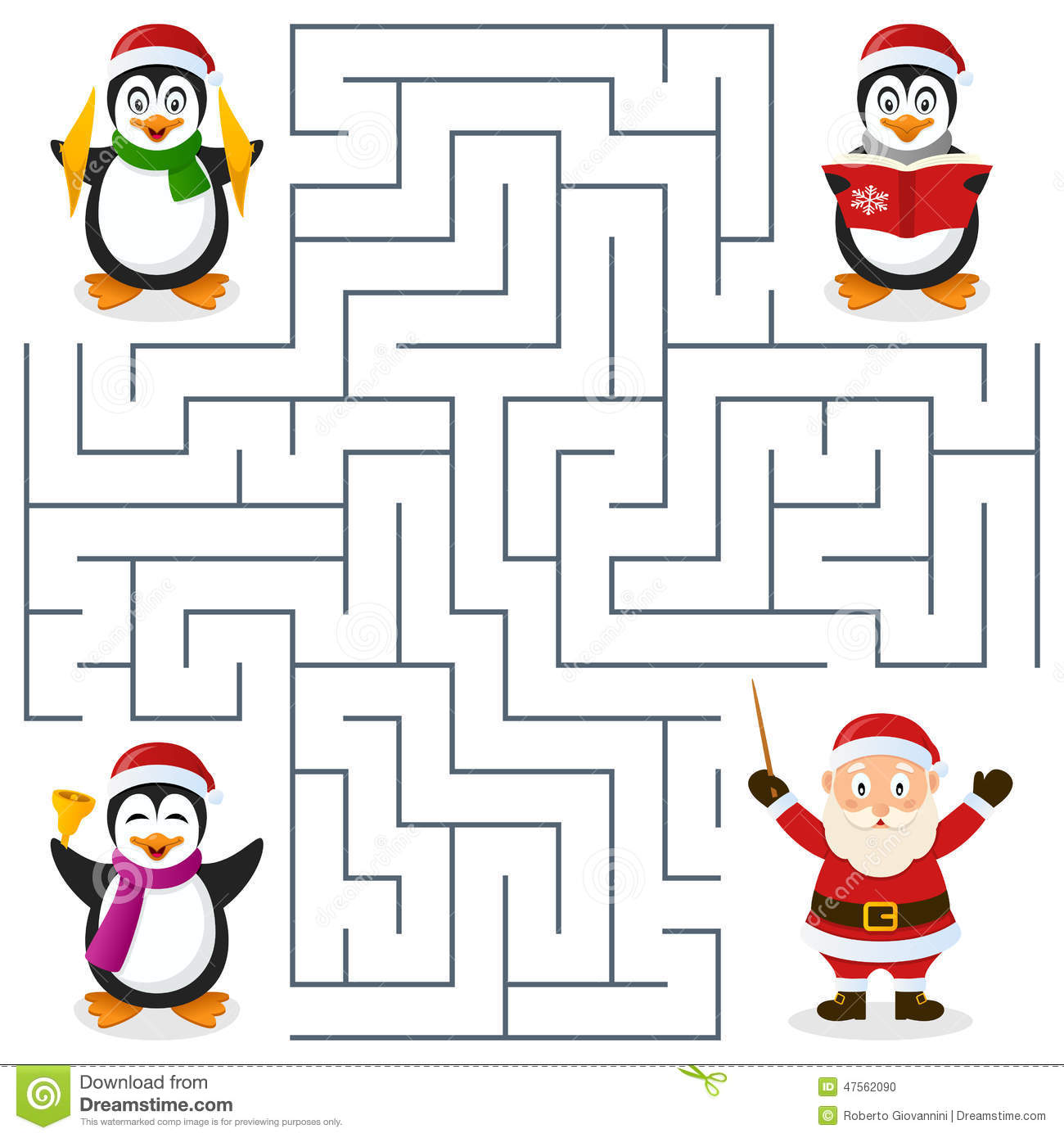 Christmas Penguins Maze For Kids Stock Vector