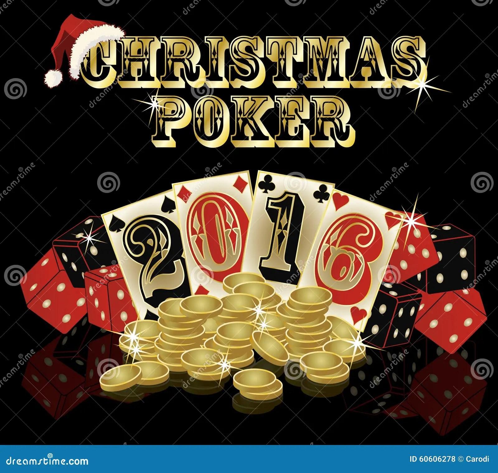 Christmas Poker Postcard 2016 New Year Vector Stock