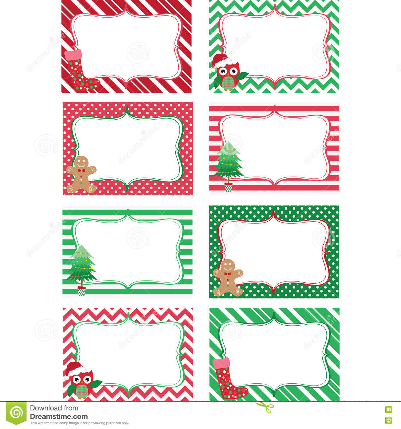 Christmas Printable Labels Setoto Frame T Tags Invitation Stock Vector