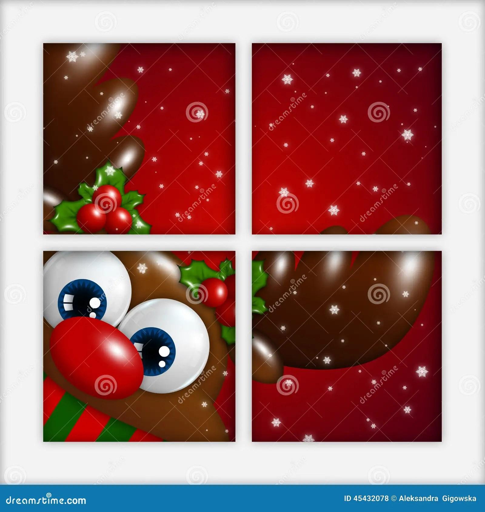 Christmas Reindeer Looking By The Window Stock