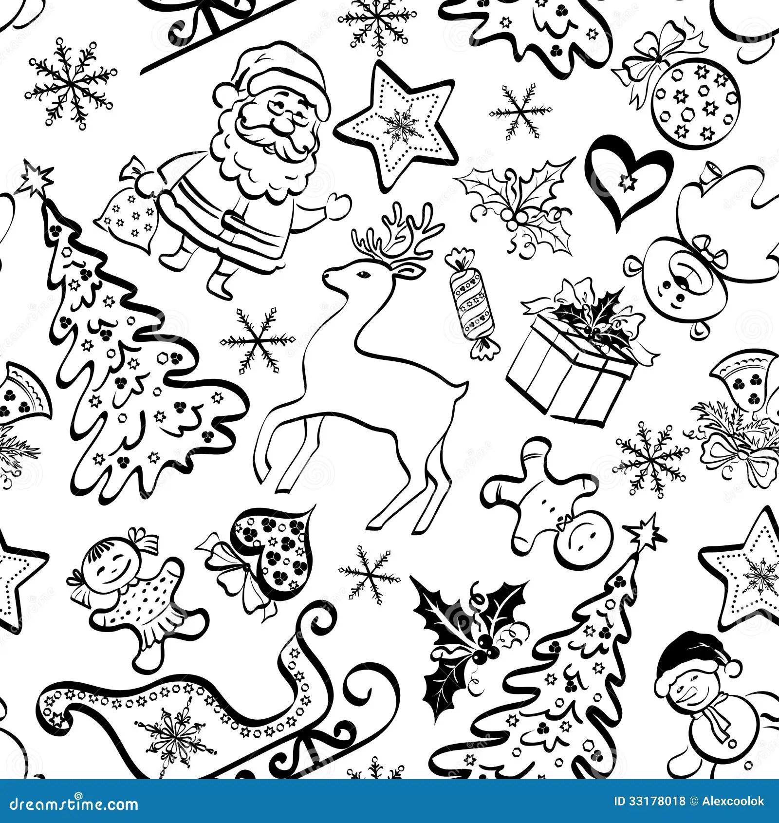 Christmas Seamless Pattern Contour Stock Vector