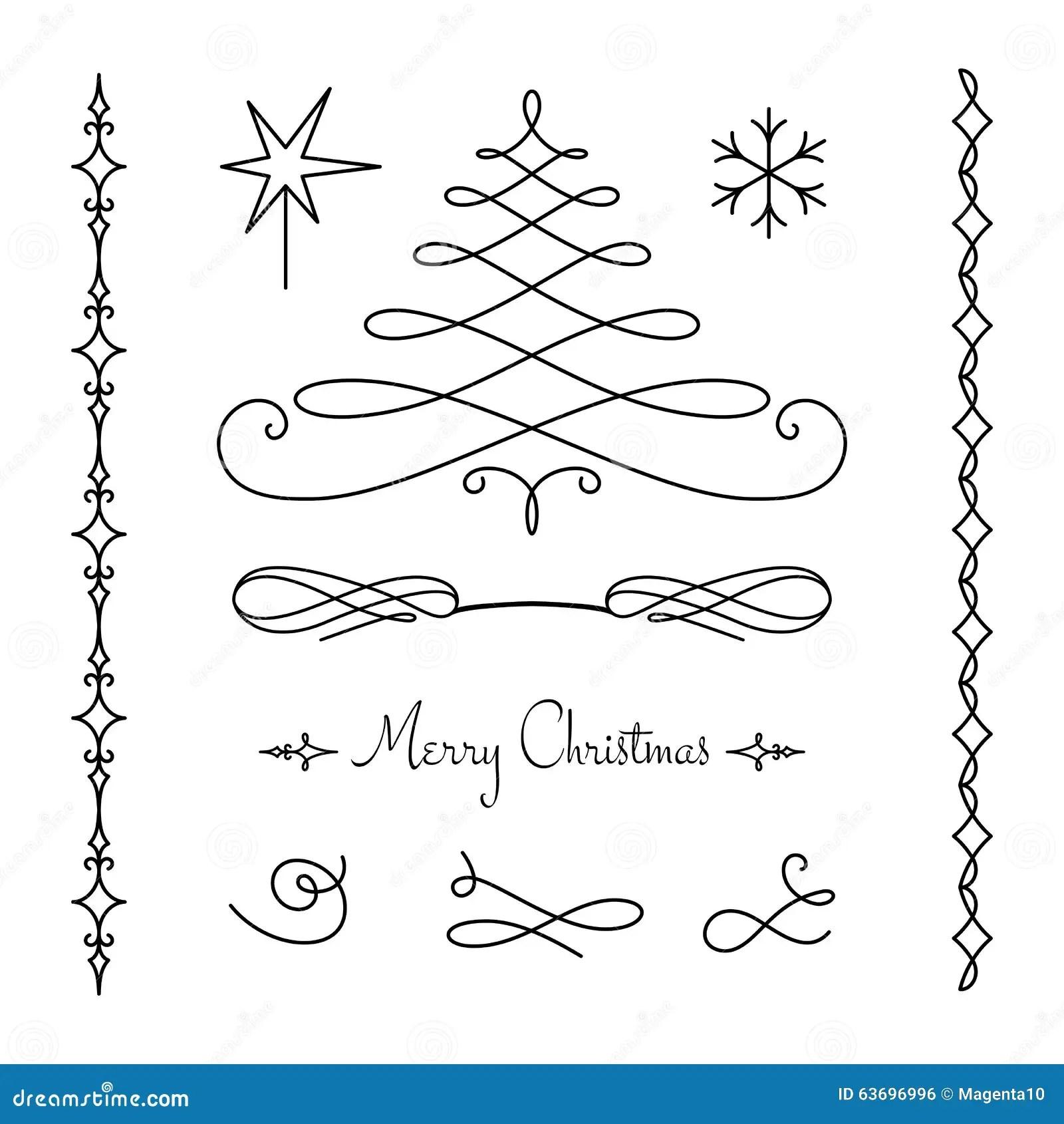 Christmas Set Of Calligraphic Decorative Elements Stock