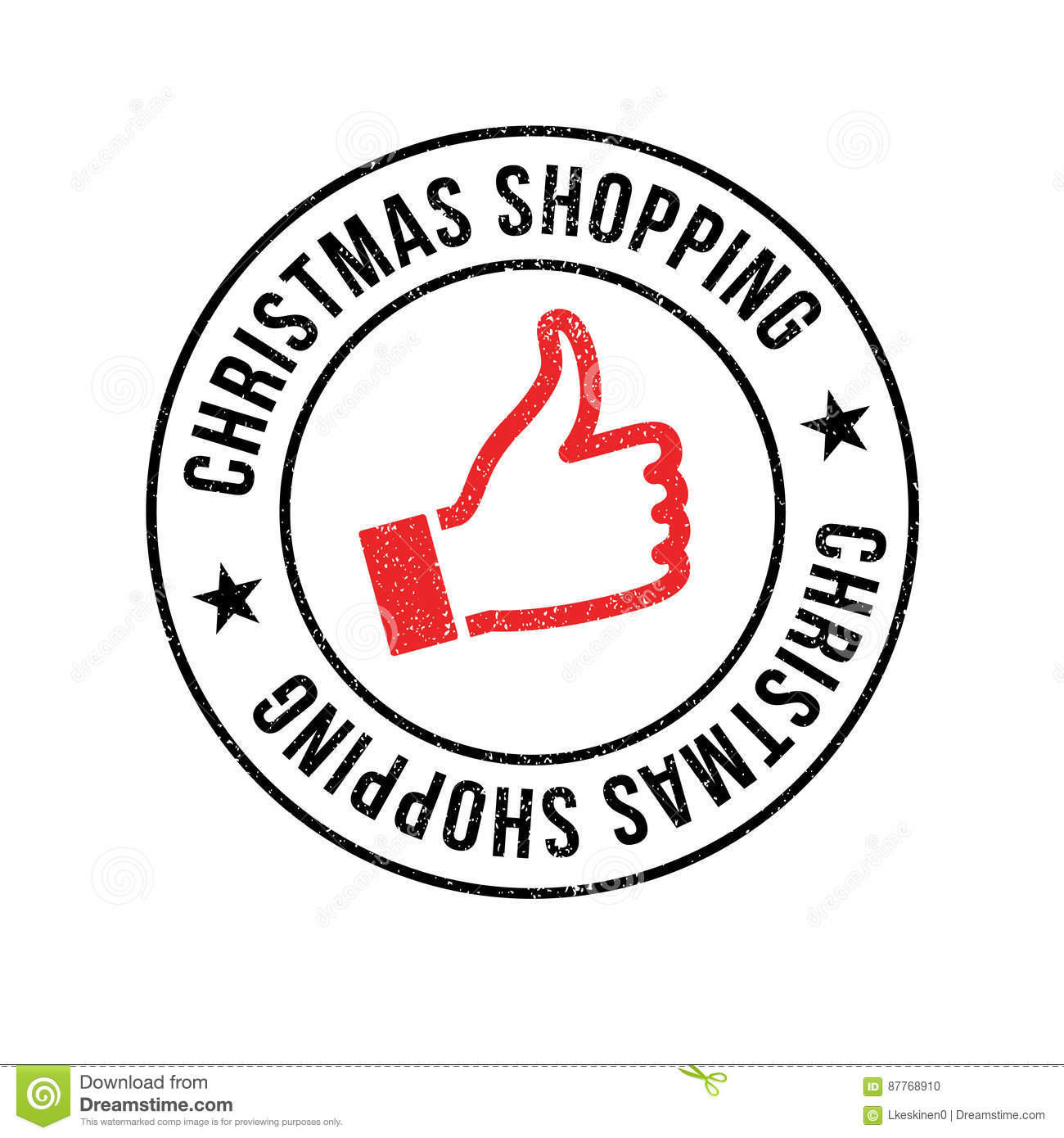 Christmas Shopping Rubber Stamp Stock Vector