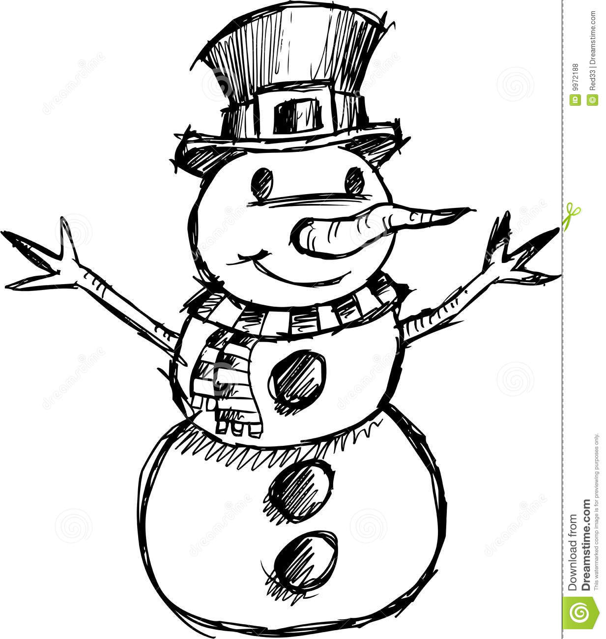 Christmas Sketchy Snowman Vector Stock Vector