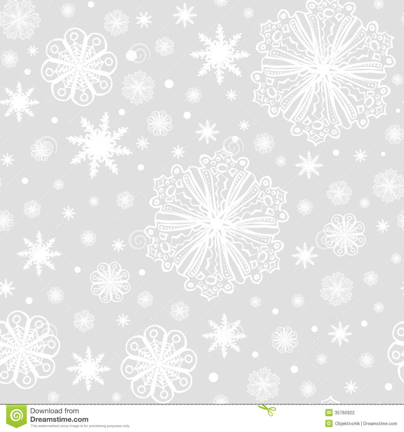 Christmas Snowflakes On Grey Seamless Pattern Stock