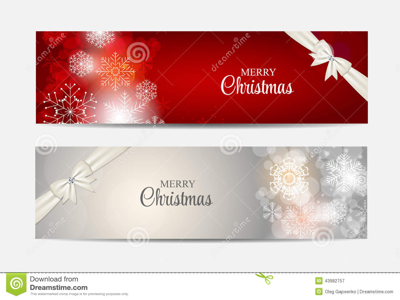 Christmas Snowflakes Website Header And Banner Set Stock