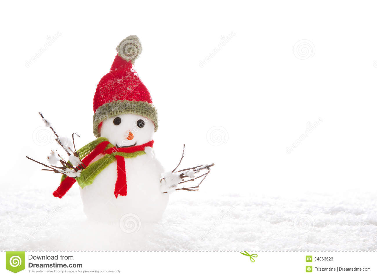 Christmas Snowman With Red Scarf And Hat On White