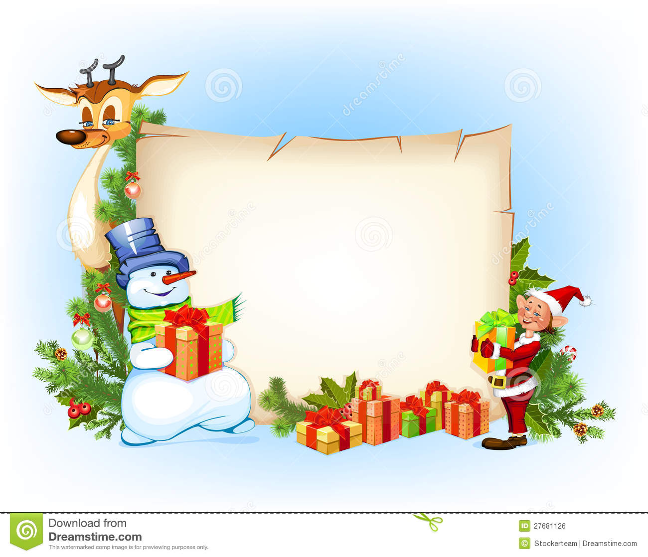 Christmas Snowman Reindeer And An Elf Royalty Free Stock