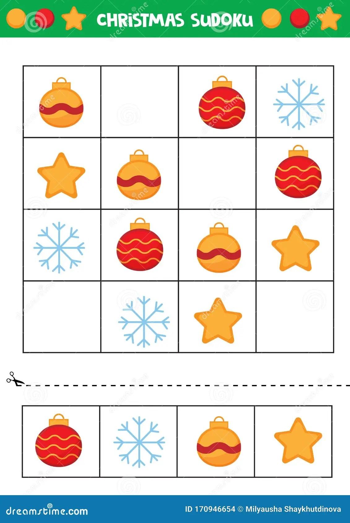 Christmas Sudoku For Kids Educational Game For Kids Stock