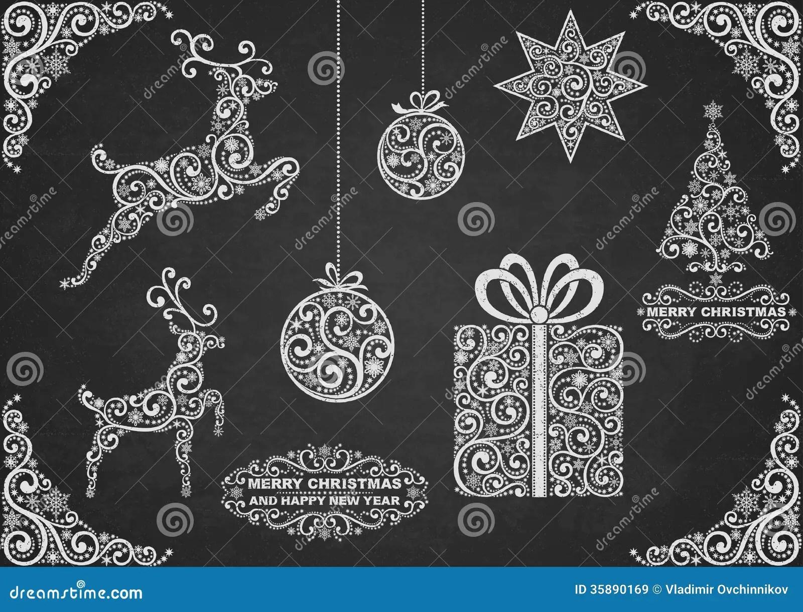 Christmas Symbols Chalkboard Stock Vector Image 35890169