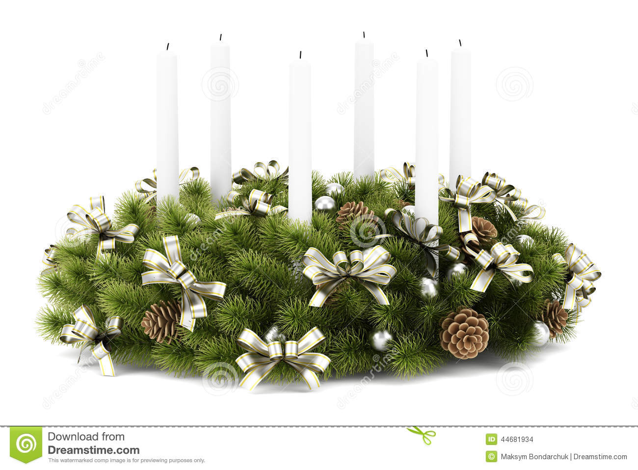 Christmas Table Decoration Wreath With Candles On White