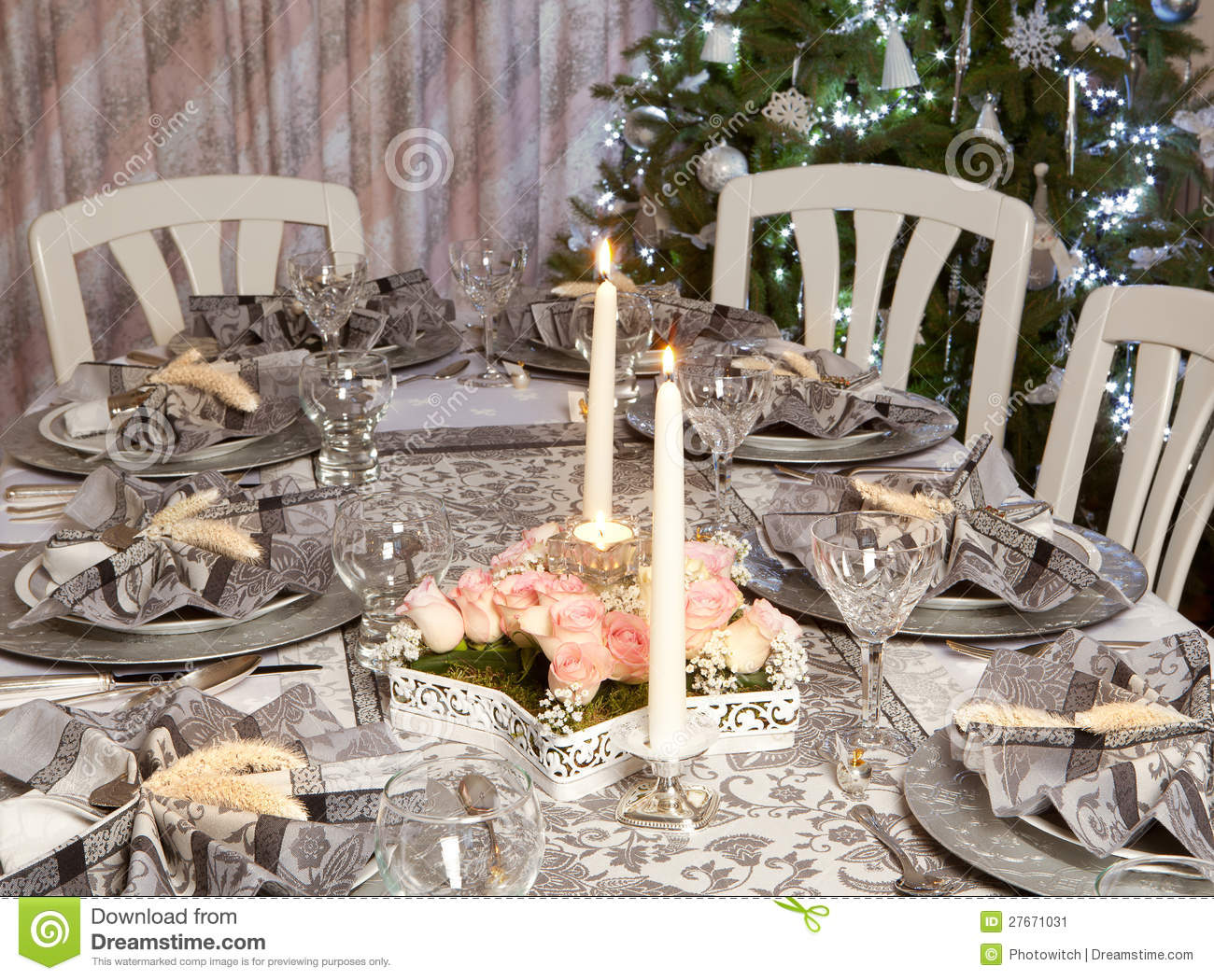 Christmas Table In Pink And Grey Stock Image Image 27671031