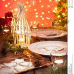 Christmas Table Setting With Rustic Style Decorations Stock